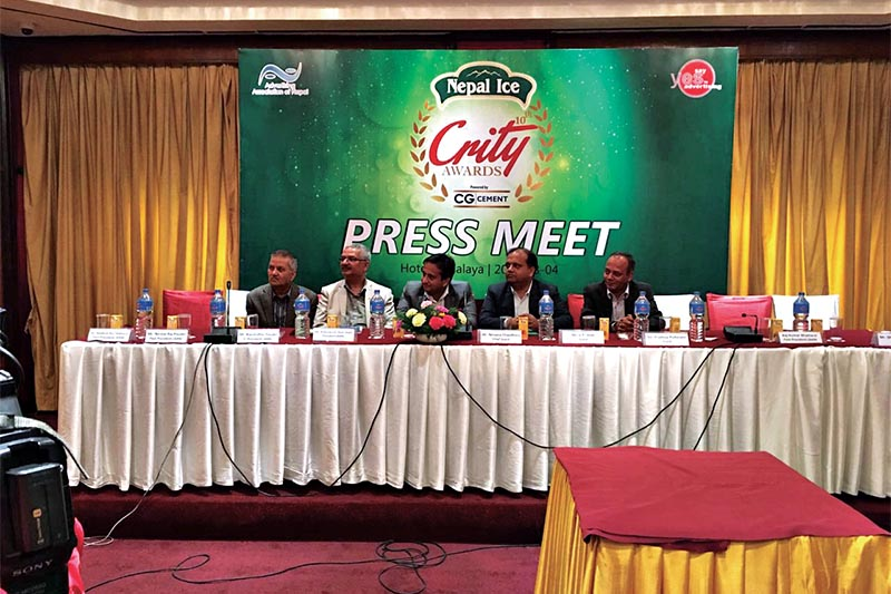 A press meet being organised to announce the sponsors of the 10th Crity Awards, in Kathmandu, on Monday. Photo: THT