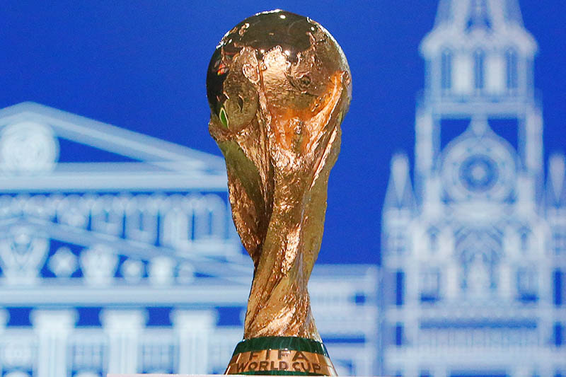 The 2018 FIFA World Cup Winner's Trophy is on display before the 68th FIFA Congress in Moscow, Russia June 13, 2018. Photo: Reuters