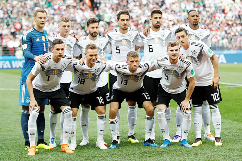 Germany team group before the match. Photo: Reuters