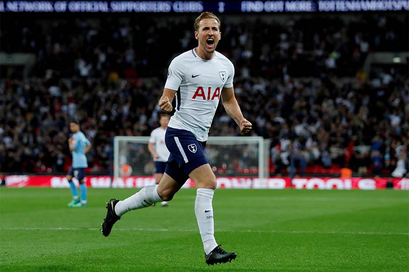Tottenham's Harry Kane celebrates after scoring goal. Photo: Reuters