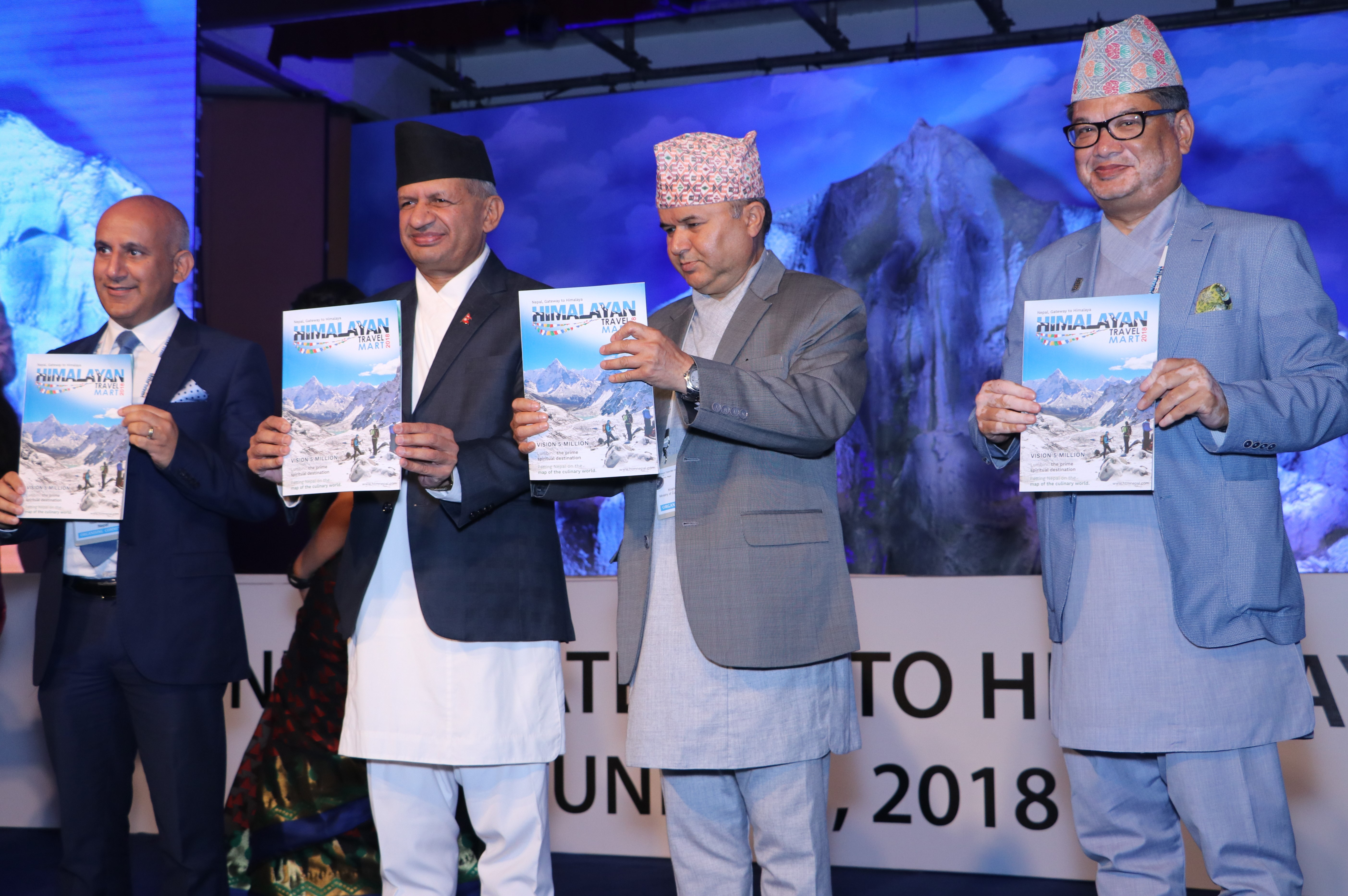 Minister for Foreign Affairs Pradeep Gyawali among others at the inauguration ceremony of International Travel Bloggers and Media Conference (ITBMC) of Himalayan Travel Mart 2018 at Soaltee Crowne Plaza, in Kathmandu, on June 1, 2018. Photo: Nepal Tourism Board