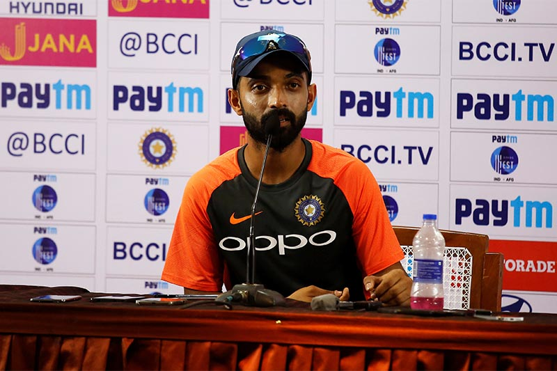 India's test cricket team captain Ajinkya Rahane addresses a news conference before match between India and Afghanistan, in Bengaluru, India, on June 13, 2018. Photo: Reuters