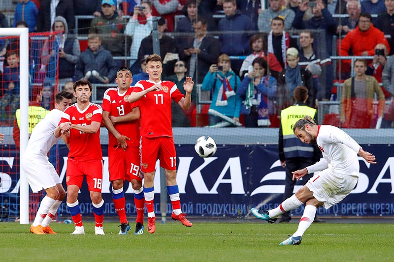 Turkeyu2019s Yusuf Yazici shoots at goal from a free kick during an International Friendly match between RUssia and Turkey, at VEB Arena, in Moscow, Russia, on June 5, 2018. Photo: Reuters