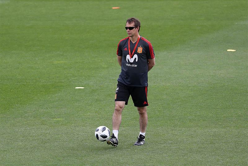 Spain coach Julen Lopetegui during training. Photo: Reuters
