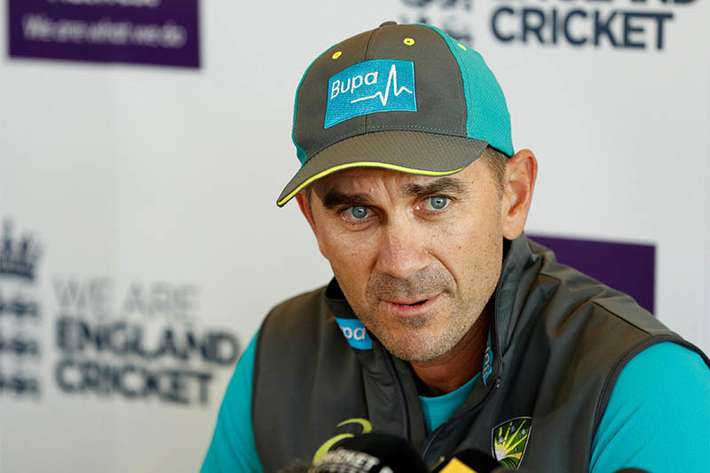 Australia head coach Justin Langer during the press conference. Photo: Reuters