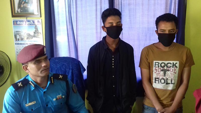Two persons accused of murder being made public at District Police Office, Kavre, on Friday, June 1, 2018.