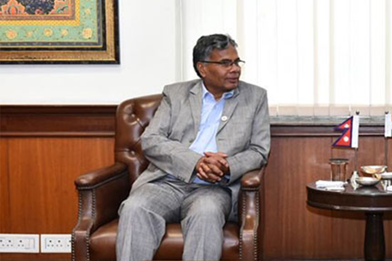 Minister for Industry, Commerce and Supplies Matrika Prasad Yadav talking with Indian Minister for External Affairs Sushma Swaraj in New Delhi, India, on Monday, March 19, 2018. Photo: Twitter/MEAIndia