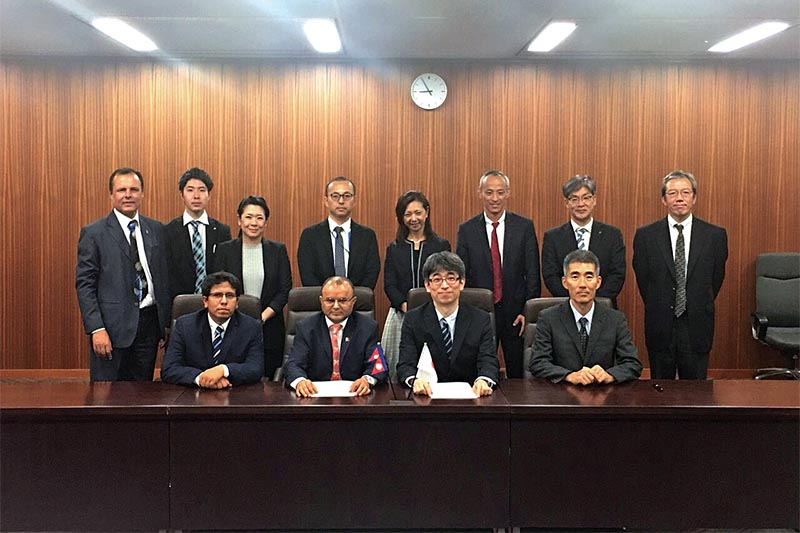 Government authorities of Nepal and Japan after signing amended air service agreement (ASA), in Tokyo, on Monday, June 18, 2018. Photo courtesy: MoCTCA