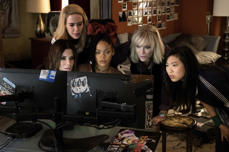 This image released by Warner Bros. shows, from foreground left, Sandra Bullock Sarah Paulson, Rihanna, Cate Blanchett and Awkwafina in a scene from u201cOceanu2019s 8.u201d Photo: APn