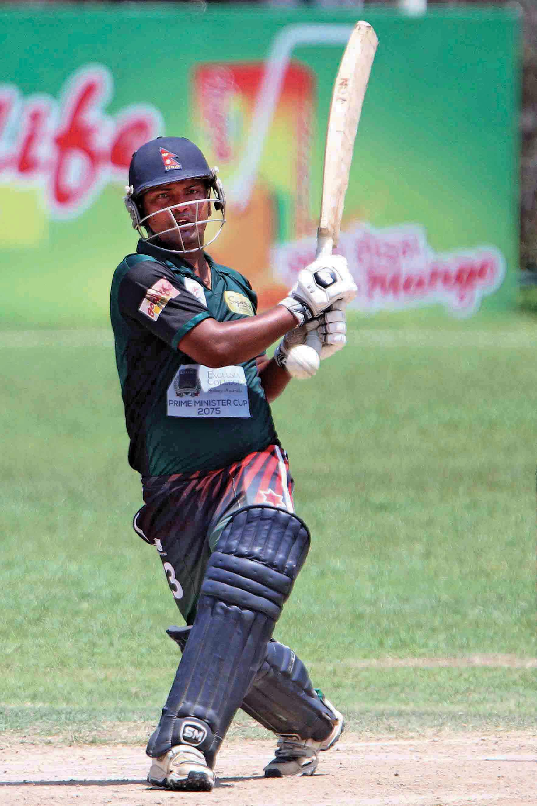 Anil Mandal of Tribhuvan Army Club bats against Nepal APF Club during their PM Cup One Day Cricket Tournament match at the TU Stadium in Kathmandu on Tuesday. Photo: Udipt Singh Chhetry/ THT
