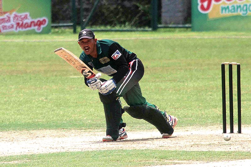 Raju Rijal of Tribhuvan Army Club bats against Province 2 during their Prime Minister Cup One Day Cricket Tournament match at the TU Stadium in Kathmandu on Thursday. Photo: Udipt Singh Chhetry/ THT