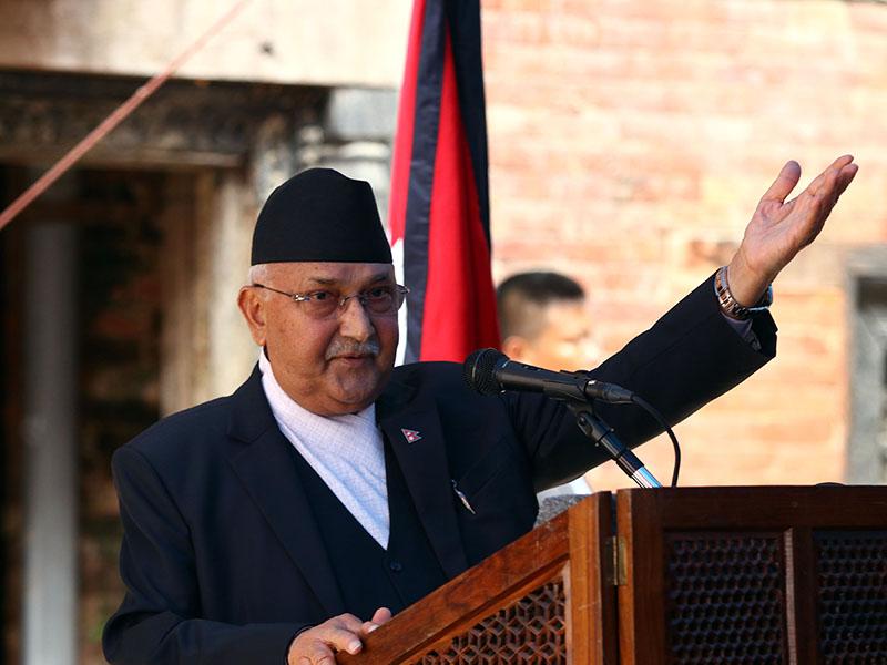 Prime Minister KP Sharma Oli addressing the inaugural programme of 'Gaddi Baithak' that has been reconstructed, in Basantapur, Kathmandu, on Wednesday, June 27, 2018. Photo: RSS