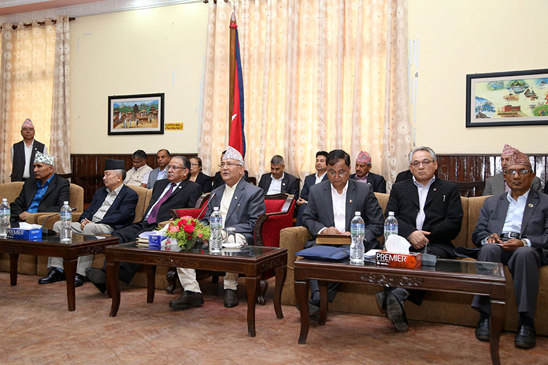 Prime Minister and Co-chair of Nepal Communist Party (NCP) KP Sharma Oli, Co-chair Pushpa Kamal Dahal, along with other leaders, at the parliamentary party meeting, at the prime minister's official residence, in Baluwatar, on Saturday, June 16, 2018. Photo: RSS