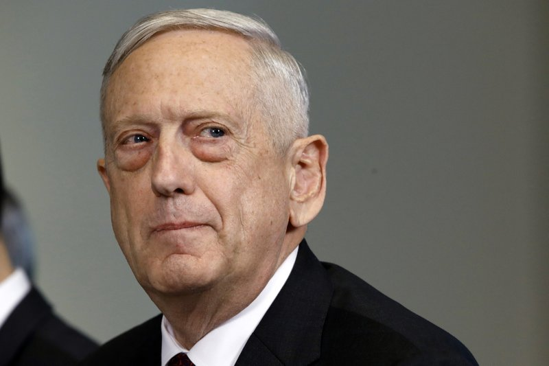 File - In this photo, Defense Secretary Jim Mattis listens to a question during a meeting at the Pentagon, in Washington on Friday April 27, 2018. Photo: AP