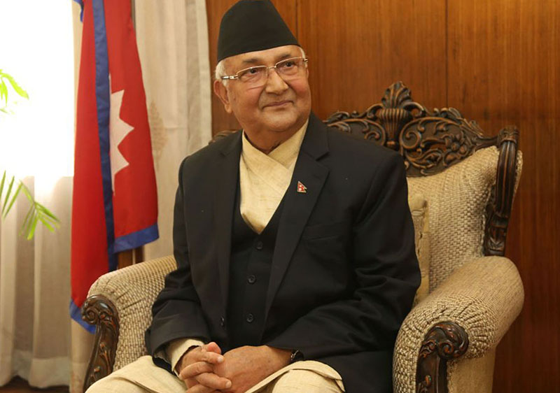 FILE: Nepalese Prime Minister Khadga Prasad Sharma Oli speaks during an exclusive interview with Xinhua prior to his visit to China at the Prime Minister's residence in Kathmandu June 18, 2018.  (Xinhua/Sunil Sharma) (srb)
