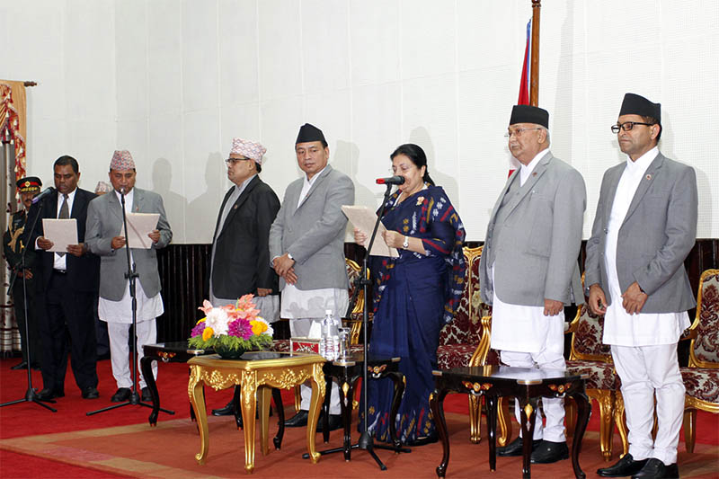 President Bidya Devi Bhandari administering the oath of office and secrecy to newly appointed Deputy Prime Ministers at Sheetal Niwas, in Kathmandu, on Friday, June 01, 2018. Courtesy: Office of the President
