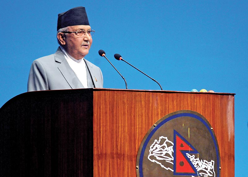 FILE PHOTO: Prime Minister KP Sharma Oli addressing the Parliament, in Kathmandu. Photo: Bal Krishna Thapa/ THT