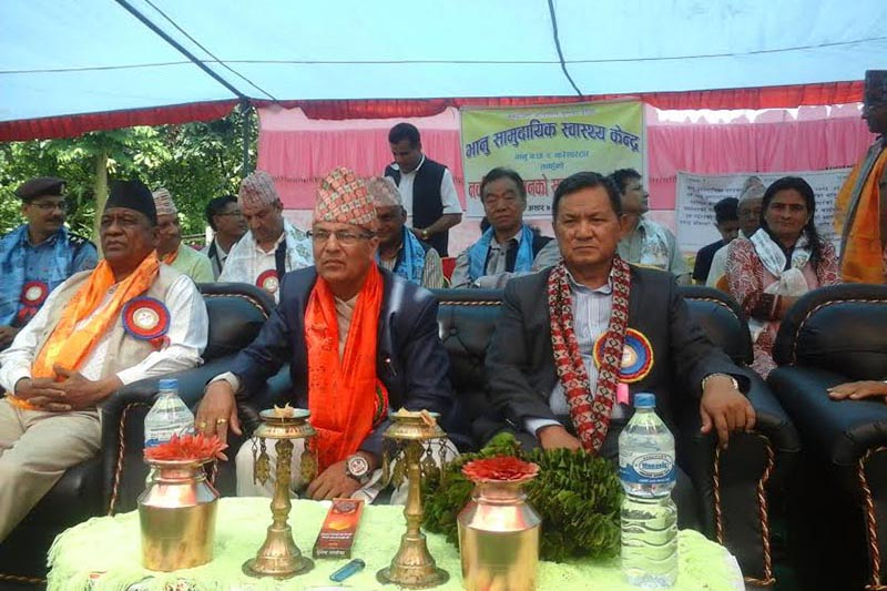 Province 4 Chief Minister Prithvi Subba Gurung attending the inauguration ceremony of new structure of Bhanu Community Health Centre in Bhanu Municipality, Tanahun, on Thursday, June 21, 2018. Photo: THT.