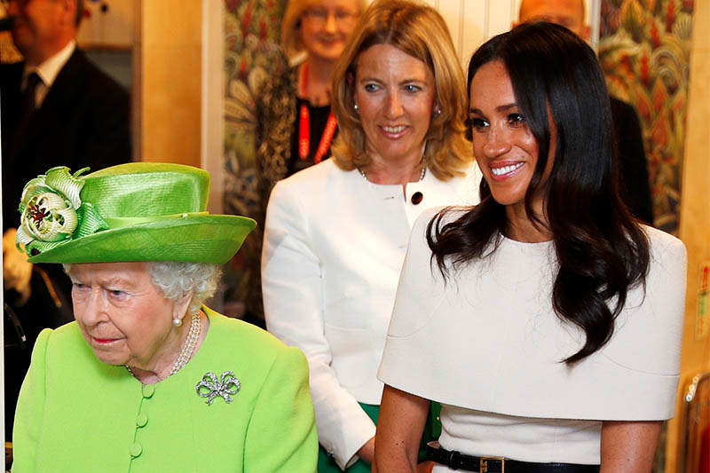 Britain's Queen Elizabeth and Meghan, the Duchess of Sussex, visit the Storyhouse in Chester, June 14, 2018. Photo: Reuters