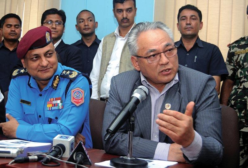 Minister of Home Affairs Ram Bahadur Thapa addressing a press meet, in Kathmandu, on Thursday, June 28, 2018. Photo: THT