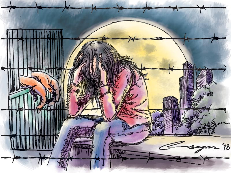 Rape Victim. Illustration: Ratna Sagar Shrestha/ THT