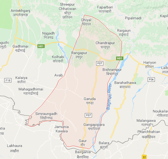A map showing Rautahat District. Photo: Google Maps