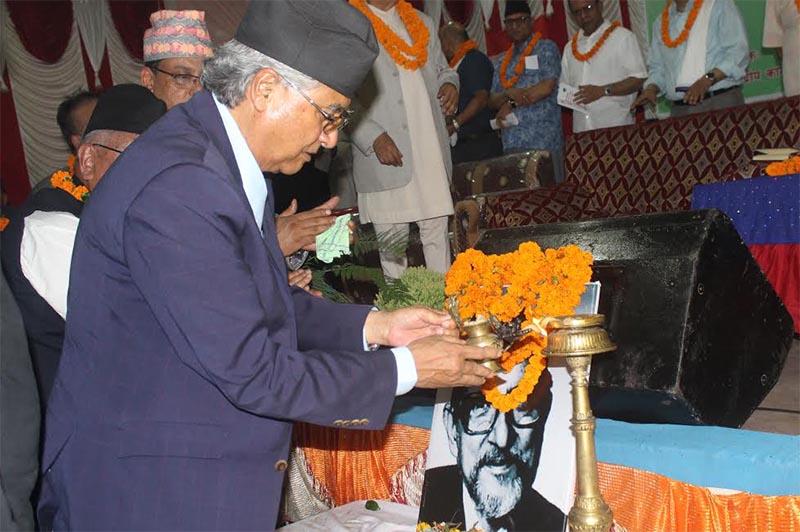 Nepali Congress President Sher Bahadur Deuba inaugurating the national gathering of the NCu2019s district npresidents, in Hetauda, on Tuesday, June 19, 2018. Photo: THT