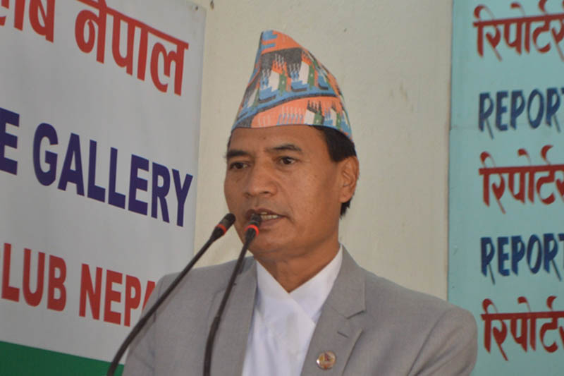 Sher Bahadur Tamang, Minister for Law, Justice and Parliamentary Affairs, speaking at an interaction programme in Kathmandu, on Wednesday, June 06, 2018. Courtesy: Reporters Club