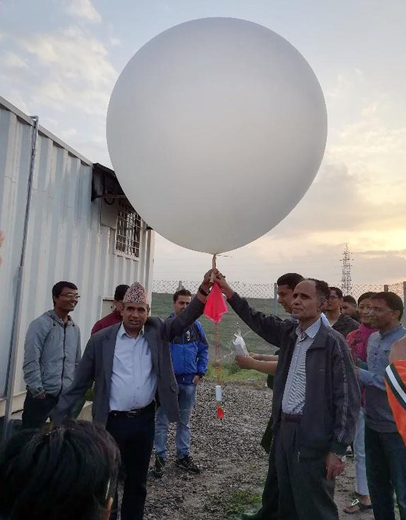 Weather balloon being flown at Kirtipur, on Wednesday, June 20, 2018. Photo: RSS