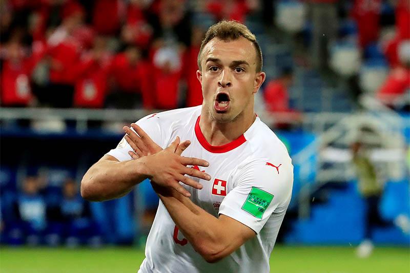 FILE PHOTO: Switzerland's Xherdan Shaqiri celebrates scoring their second goal against  Serbia. Photo: Reuters
