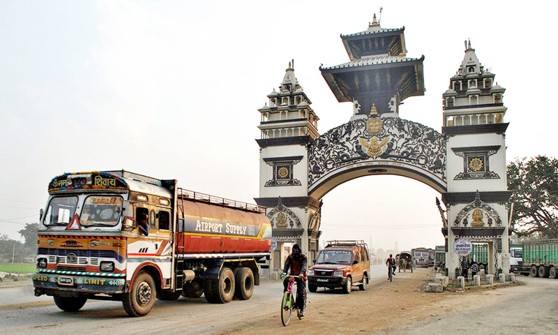 A tanker loaded with petroleum product enters Nepal via Raxaul border point on Monday, February 8, 2016. Photo: RSS