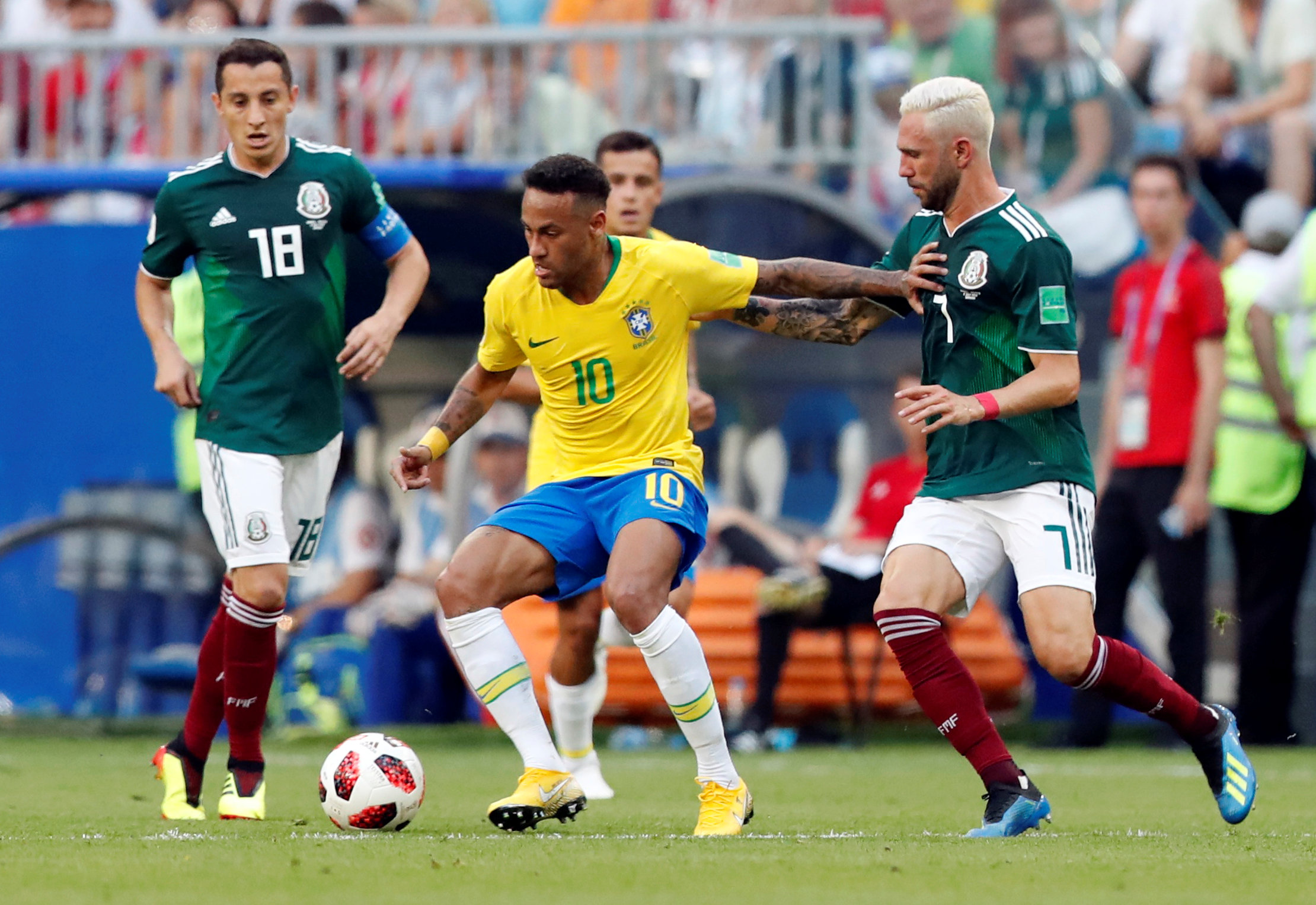 Brazil's Neymar in action with Mexico's Miguel Layun Photo:  REUTERS