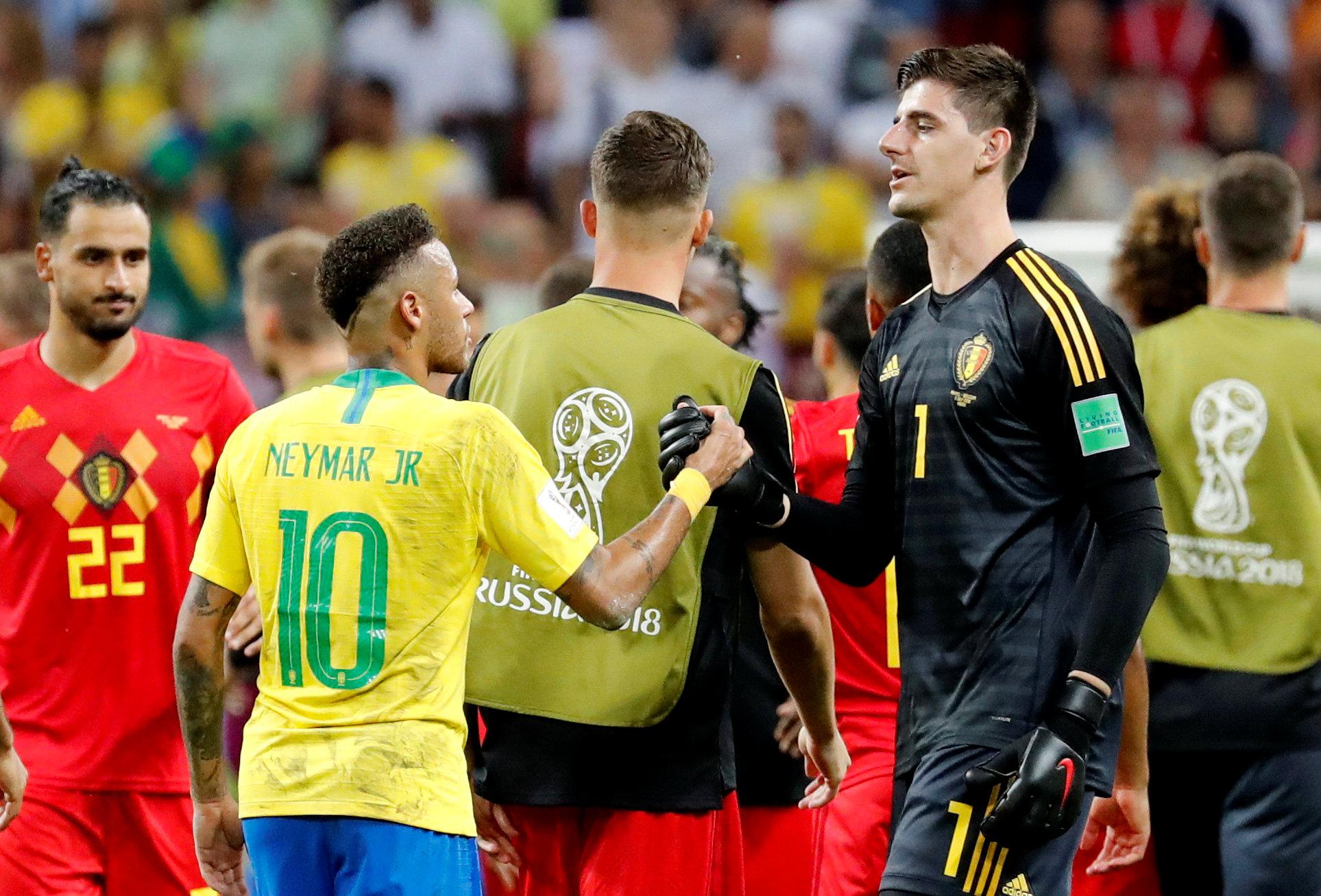 Soccer Football - World Cup - Quarter Final - Brazil vs Belgium - Kazan Arena, Kazan, Russia - July 6, 2018  Brazil's Neymar shakes hands with Belgium's Thibaut Courtois at the end of the match   Photo: REUTERS