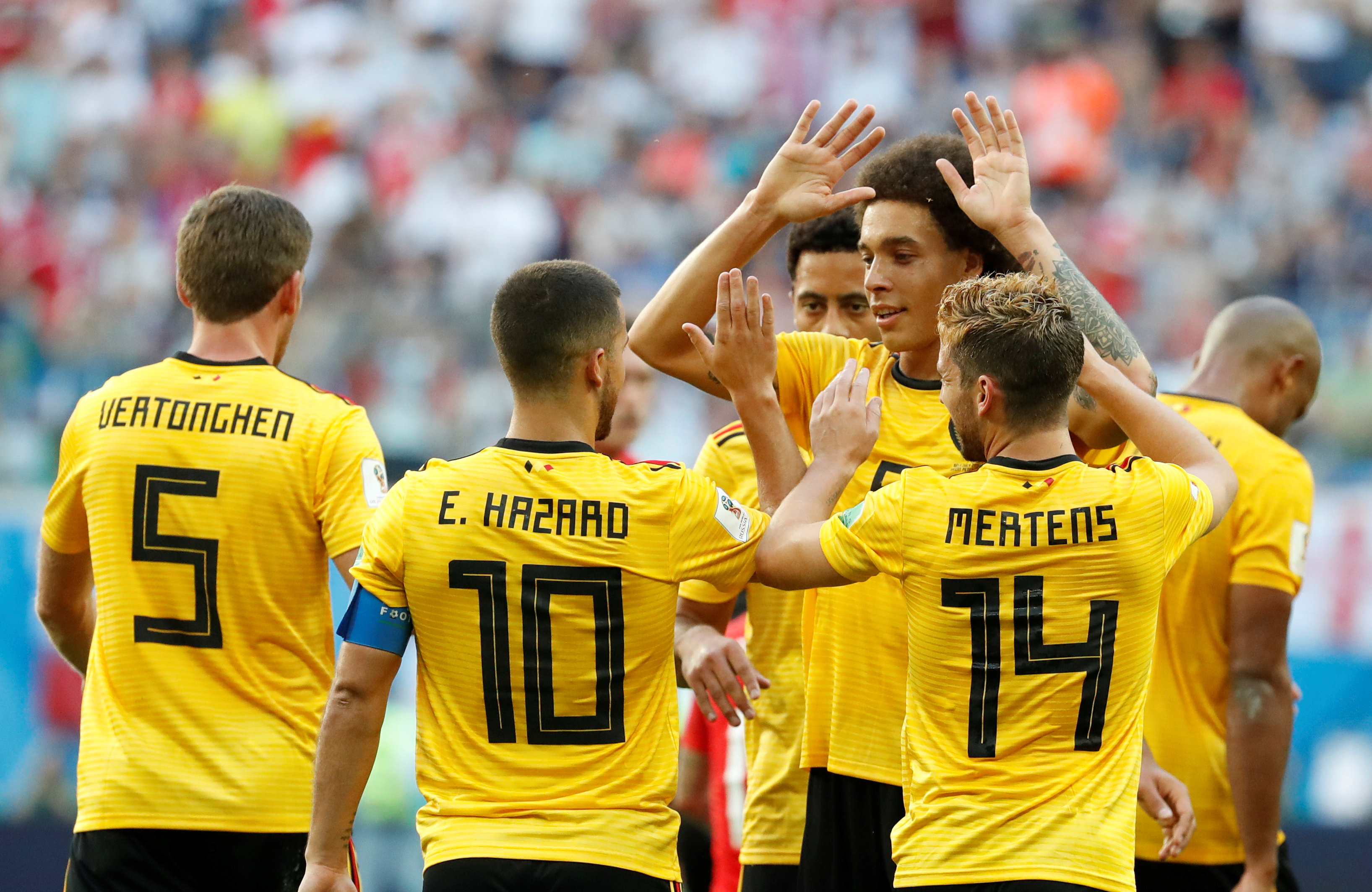 Soccer Football - World Cup - Third Place Play Off - Belgium v England - Saint Petersburg Stadium, Saint Petersburg, Russia - July 14, 2018  Belgium's Eden Hazard celebrates scoring their second goal with Axel Witsel and Dries Mertens    Photo: REUTERS