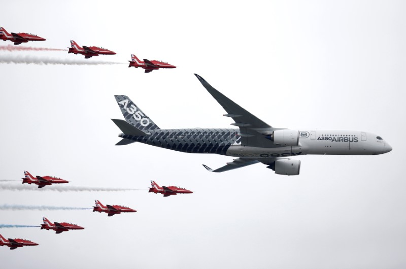FILE PHOTO: An Airbus A350 aircraft flies in formation with Britain's Red Arrows flying display team at the Farnborough International Airshow in Farnborough, Britain July 15, 2016. Photo:  REUTERS