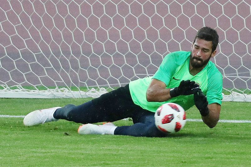 Brazil's Alisson during training. Photo: Reuters
