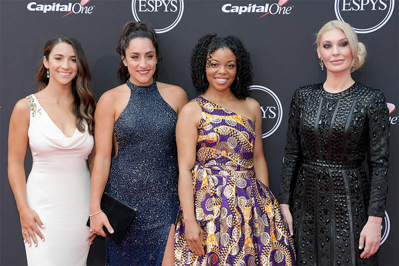American gymnasts Aly Raisman, Jordyn Wieber, Tiffany Thomas Lopez and Sara Klein arrive for the 2018 ESPYS at Microsoft Theatre, Los Angeles, California, USA, on July 18, 2018. Photo: Kirby Lee-USA TODAY Sports via Reuters