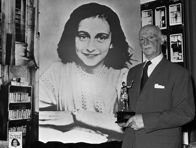 File - In this photo Dr. Otto Frank holds the Golden Pan award, given for the sale of one million copies of the famous paperback u2018The Diary of Anne Franku2019 in London, Great Britain on  Monday, June 14, 1971. Photo: AP