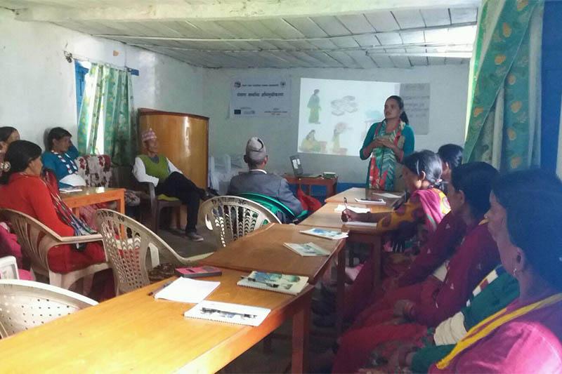 Local women attending programme on nutrition in Bajura district, on Sunday, July 15, 2018. Photo: Prakash Singh
