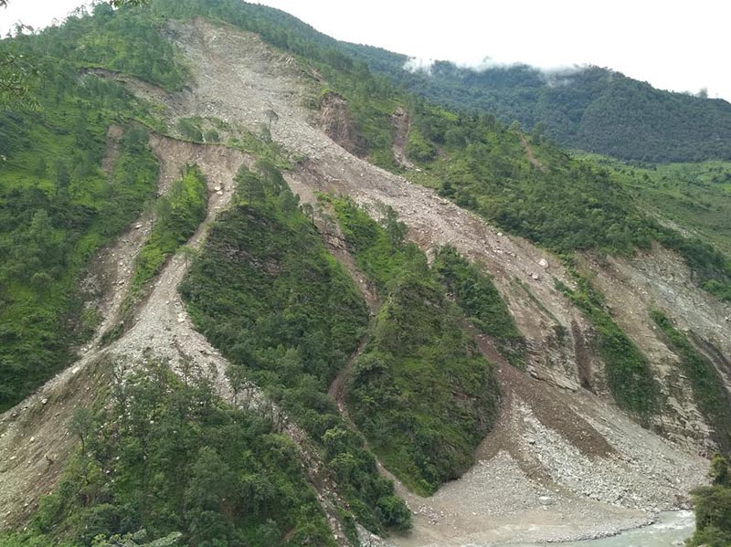 A view of landslides that occurred due to incessant rainfall in Tribeni Municipality, Bajura, on Sunday, July 29, 2018. Photo: THT