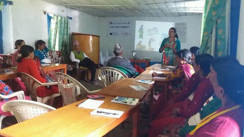 Women taking information about nutrition in Badimalika Municipality, Bajura, on Sunday, July 15, 2018. Photo: THT