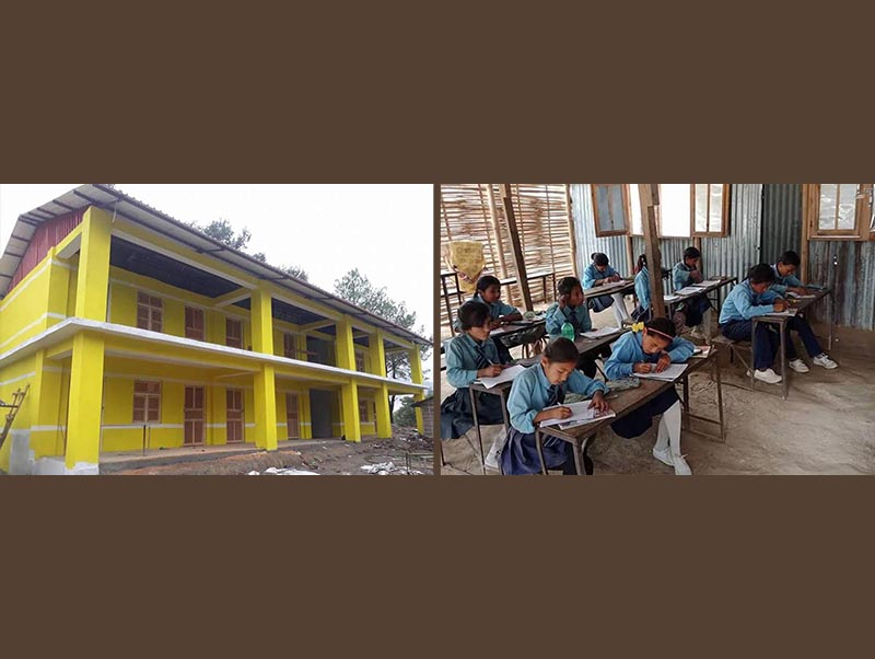 (Left) A view of the newly constructed school building of Bhim Secondary School; students taking classes in huts after the newly constructed school building was rented out to Sanima Bank at Melung Rural Municipality, Dolakha, on Monday, July 16, 2018. Photos: THT