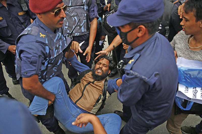 A Bibeksheel Sajha Party cadre being arrested during  a protest at Maitighar, in Kathmandu, on Saturday. Photo: THT
