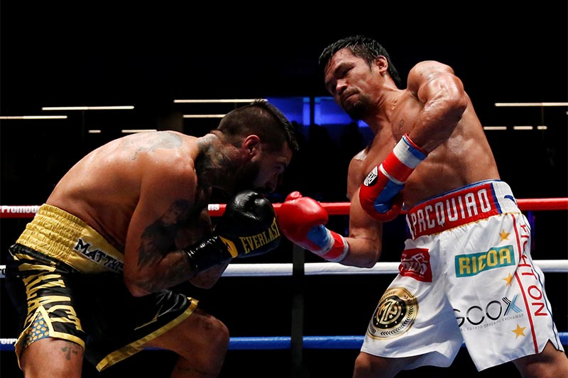 Manny Pacquiao in action against Lucas Matthysse during the WBA Welterweight Title Fight, at Axiata Arena, in Kuala Lumpur, Malaysia, on July 15, 2018. Photo: Reuters
