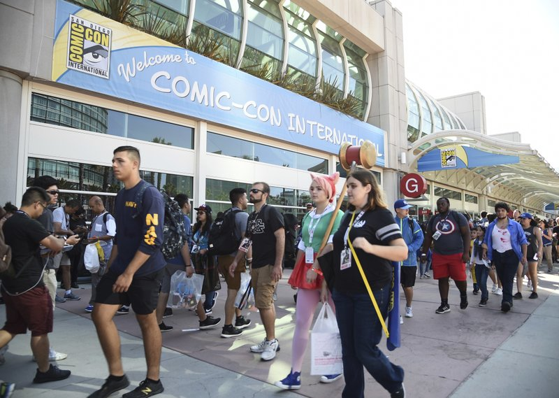 File - In this photo, guests attend the first day of Comic-Con International in San Diego. More than 130,000 pop culture devotees are descending on San Diegou2019s Gaslamp District, Wednesday, July 18, 2018, for the annual four-day comic book convention Comic-Con on Thursday, July 20, 2017. Photo: AP