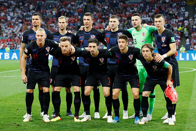 Croatia players pose for a team group photo before the match. Photo: Reuters