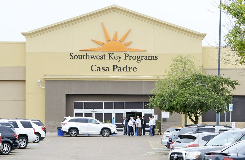 File - In this photo, dignitaries take a tour of Southwest Key Programs Casa Padre, a U.S. immigration facility in Brownsville, Texas, where children who have been separated from their families are detained on June 18, 2018. Photo: AP