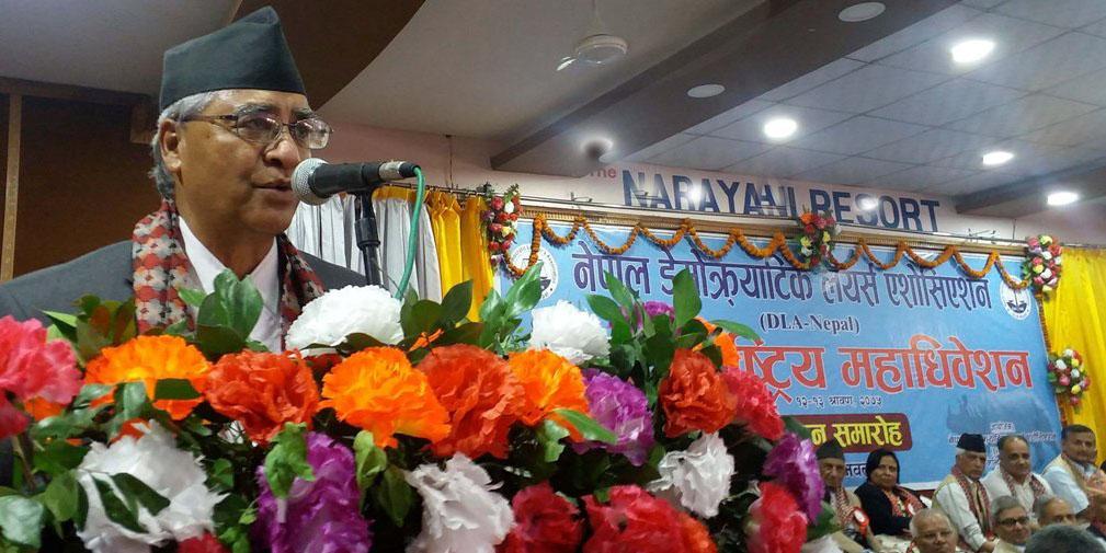 Nepali Congress President Sher Bahadur Deuba addresses the 10th National Convention of Democratic Lawyers' Association at Nawalpur in Chitwan on Saturday, July 28, 2018. Photo: Tilak Ram Rimal