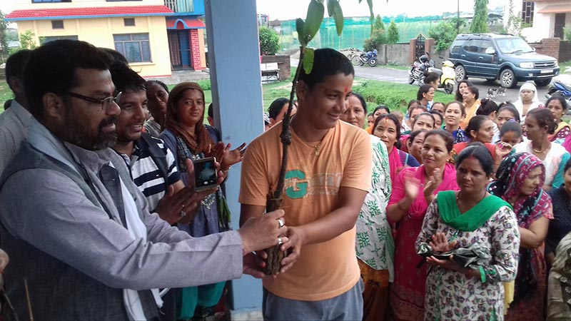 Dhangadi sub-metropolis Mayor Nrip Bahadur Odd distributing fruit plants to locals under the u2018one house two fruit treesu2019 campaign at Kedartole of Dhangadi, Kailali, on Tuesday, July 3, 2018. Photo: THT