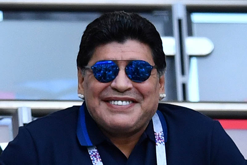 Diego Maradona in the stands before the match. Photo: Reuters